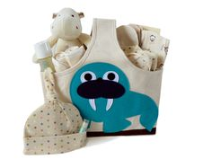 Plush Hippo Organic Baby Gift Basket
