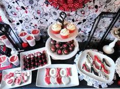 black red and white dessert table - Google Search