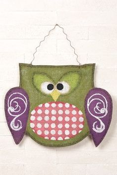Hanging Burlap Owl
