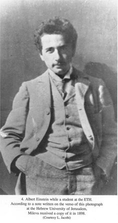 Albert Einstein while a student at the ETH.  According to a note written on the veno of this photograph at the Hebrew University of Jerusalem, Mileva received a copy of it in 1898 (Courtesy L. Jacobi)