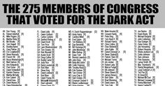 The 275 Members of Congress that Voted For The Dark Act <3 via @eatlocalgrown