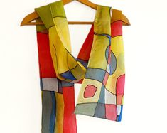 Multi color abstract scarf. Handpainted silk scarf in red, green, blue, yellow. Long modern scarf. Colorful geometric scarf. Designer scarf.