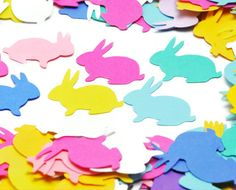 Bunny confetti . rabbit . 200 ct . pastel paper punches . die cuts . scrapbook embellishment . party decor . favor fillers . Spring. $4.00, via Etsy.