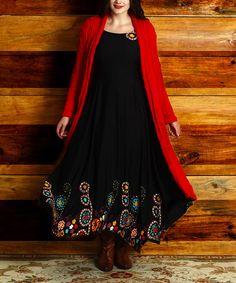 35 Loving this Black Garden Sleeveless Handkerchief Maxi Dress - Plus on #zulily! #zulilyfinds