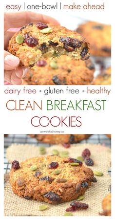 Easy Oatmeal Breakfast Cookies with wholegrain oats, coconut , cranberries and pumpkin seeds. A healthy grab and go breakfast to kick start morning energy. Oatmeal Breakfast Cookies, Healthy Oatmeal Cookies, Coconut Cookies, Clean Breakfast, Breakfast Recipes, Breakfast Ideas, Free Breakfast, Breakfast Time, Breakfast Dishes