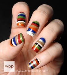 Take a look at these gorgeous nail art ideas that look so lovely and so creative. You can use them like inspiration for your next nail art. Get Nails, Love Nails, How To Do Nails, Pretty Nails, Hair And Nails, Nail Art Stripes, Striped Nails, Bold Stripes, White Nails