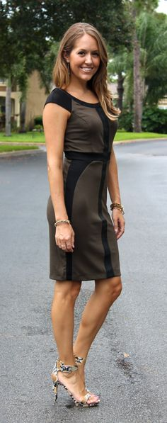Today's Everyday Fashion: Ross Dress For Less // leather-trimmed dress.