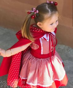 This cute Little Red Riding Hood outfit is composed af a dress and a cape. Red Riding Hood Costume Kids, Custom Dresses, Diy Mask, Halloween Costumes For Kids, Kids Costumes For Girls, Little Red, Simple Dresses, Dress Making, Dress Up