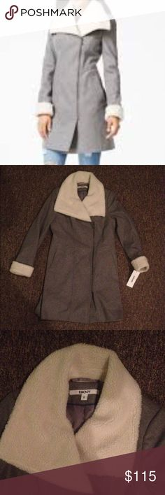 🆕DKNY Faux-Fur-Trim Grey Asymmetrical Walker Coat NEW with tag! Never worn! 🆕 original price $325. Size 8, fits true to size. Will look right on size 6 too. Asymmetrical with zipper. Stylish and warm enough, VERY FLATTERING🎀Looks nice with anything and everything (from converse to high heels!), dress it up or down 💕 Nicely lined. Made of: shell 60% wool, 30% polyester, 10% wiscose; lining 100% polyester; faux fur trim 100%  polyester. Great DKNY quality ❗️don't hesitate to make a…