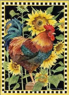 Rooster & Sunflowers ~ Gwendolyn Babbitt