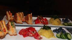 Tapas-stye dinner: Vegan Grilled Cheese, Tomato Bulgur Salad, and Spaghetti Squash with Pesto. Good Pesto Recipe!