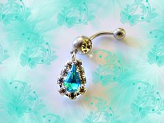 Belly Ring, Aqua Blue Crystal Peacock Teardrop, Belly Button Ring, Handmade Belly Button Jewelry For Women and Teens on Etsy, $8.50