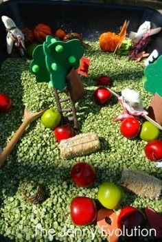 Fall Farm Sensory Bin. What a better way to enjoy a sunny fall day than to explore a fall sensory bin outdoors!
