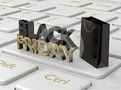 3d rendering of computer keyboard with black friday text and shopping bag