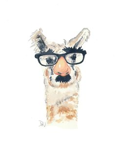 Llama Watercolor Painting