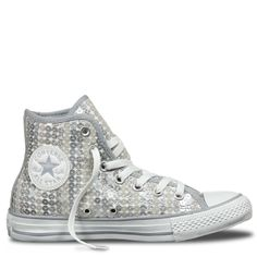Chuck Taylor All Star Sequin Shine Hi Silver | Free Shipping * | Buy authentic sneakers direct from Converse