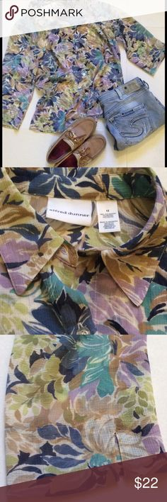 Alfred Dunner Sheer Floral 3/4 Sleeve Blouse Alfred Dunner Size 12 Sheer  100% Polyester  Colors- Tan,Dark Blue,Teal,Cream,Lavender  Button down 3in side slits on each side of bottom of top Shoulder top to hem is 27in Armpit to armpit is 22in 19in sleeves Sleeves also have small 2in slits Alfred Dunner Tops Button Down Shirts