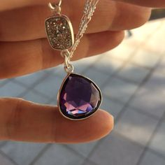 Amethyst Gemstone Necklace-Silver Druzy Necklace-Purple Amethyst Teardrop Necklace-Sparkly Druzy Gemstone Necklace-Gifts for her: Girlfriend   $47.50