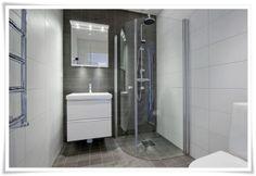 Sisustus ja Sepustus: Inspiraatioita pesuhuoneen laatoitukseen Gray And White Bathroom, Grey Bathrooms, Toilet, Bathtub, Home, Decor, Bubbles, Google, Black
