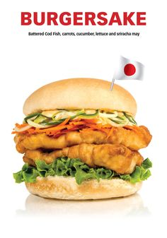 It's HERRRE !!! Siracha Mayo, Battered Cod, Cod Fish, Cheese Sauce, French Fries, Salmon Burgers, Lettuce, Cucumber, Carrots