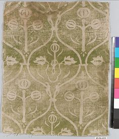 Printed Textile Date: century Geography: Made in Rhineland, Germany Culture: German Medium: Linen Dimensions: Overall: 9 x 11 x Classification: Textiles-Printed Textile Patterns, Textile Prints, Art Prints, Medieval Life, Medieval Art, Renaissance, Century Textiles, Landsknecht, Fabric Stamping