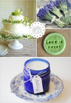 candle jar, cake and lavander