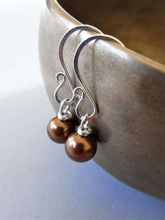 The Mocca earrings - petite (and easy care) south sea shell pearls are completed with my signature ear wires in sterling.