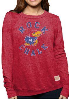 Original Retro Brand Kansas Jayhawks Womens Crew Blend Red Crew Sweatshirt