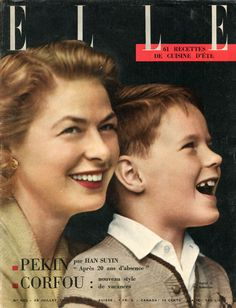 Ingrid Bergman et Robertino Rosselini en couverture de Elle n°605 du 29 juillet 1957 - photo Jean-Loup Sieff