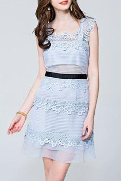 AdoreWe - Dezzal Lace Insert Backless Mini Dress - AdoreWe.com