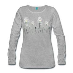 Langarmshirt für Frauen mit Pusteblumen,Wiese ~ 2077