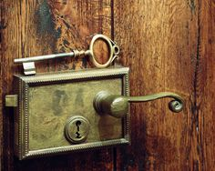 Eclectic wine cellar lock and very large key