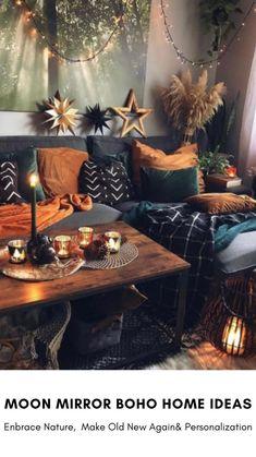 Boho Living Room, Home And Living, Living Room Grey, Small Living Rooms, Bohemian Living, Boho Dorm Room, Bohemian Room, Living Room Decor Cozy, Bohemian Bedroom Decor