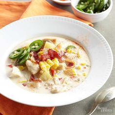 Spicy Chicken-Corn Chowder Bacon, chicken, potatoes, peppers, and onion combine in this creamy chowder.