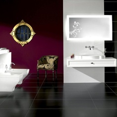 Deep plum feature wall.    Villeroy & Boch Bianco Nero Tile 3366 (60 x 60cm). Porcelain Wall & Floor Tiles from UK Bathrooms