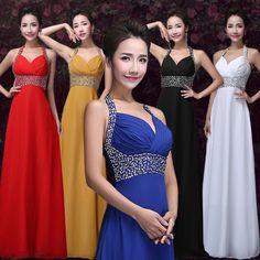 9 Colors Halter Bridesmaids Dress A Line Deep V Evening Dress Chiffon Long Prom Gown E035