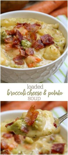 Loaded Broccoli, Cheese and Potato Soup - so full of flavor and so many delicious ingredients. This soup will keep you warm and full any time of year! { }Loaded Broccoli, Cheese and Potato Soup - so full of flavor and so many delicious ingredients. Broccoli Potato Cheese Soup, Broccoli Soup Recipes, Cheese Potatoes, Cheddar Broccoli Potato Soup, Broccoli Ideas, Creamy Soup Recipes, Potato Recipes, Brocolli Cauliflower Soup, Dinner Ideas