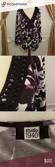 """Black & Purple Blouse with Soutache Trim Gorgeous blouse, size and care tag missing, but machine washes and dries on delicate cycle. Size XL Soft and Stretchy.    Bust 21"""" Waist 19"""" Length 24"""" Studio 1940 Tops Blouses"""