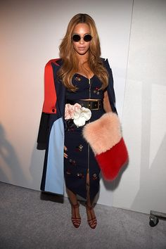 Beyonce Knowles wearing Harbison Spring 2015 Skrit, Harbison Spring 2015 Coat, Sunday Somewhere Yetti Sunglasses and Adornia Champagne Diamond Honeycomb Ring