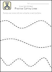 Free printable scissor skill worksheets for curved, straight, wavy, and zigzag lines.