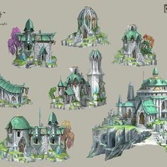 Some of the elf buildings that are grown from a crystal seed, then crafted into shape by Elven singers and craftsmen. Fantasy City, Fantasy House, Fantasy Map, Fantasy Kunst, Medieval Fantasy, Concept Art Landscape, Fantasy Concept Art, Fantasy Landscape, Building Concept