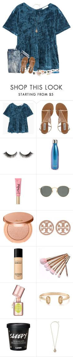 love this toppppp by hopemarlee ❤ liked on Polyvore featuring MANGO, J.Crew, Swell, Ray-Ban, tarte, Tory Burch, Bare Escentuals, Benefit and Kendra Scott