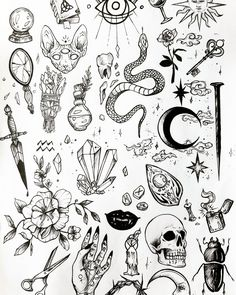 Discover recipes, home ideas, style inspiration and other ideas to try. Kritzelei Tattoo, Wicca Tattoo, Witchcraft Tattoos, Doodle Tattoo, Tattoo Drawings, Spider Tattoo, Moth Tattoo, Snake Tattoo, Wand Tattoo