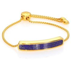 Monica Vinader Baja 18K Gold-Plated Vermeil & Lapis Bracelet ($350) ❤ liked on Polyvore featuring jewelry, bracelets, apparel & accessories, gold, adjustable bracelet, 18k bracelet, 18k bangle, monica vinader bracelet and gold vermeil jewelry