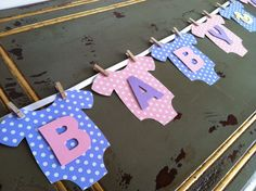 "Baby One-Piece Bodysuit ""BABY GIRL"" Baby Shower Banner: Pink and Purple Baby Shower Decoration"