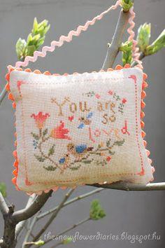 sweet bird and tulip cross stitch pillow ornament