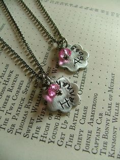 Little Sisters Custom Hand Stamped Aluminum Daisy Necklaces - set of Two by MyBella  https://www.facebook.com/MyBellaByLizLollar
