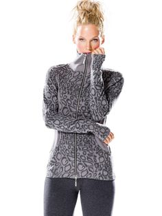 Hard Tail Forever - Charcoal Leopard Hip Shirred Breakers Jacket