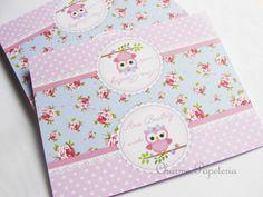 Solapa / lapela corujinhas azul e rosa floral - Charme Papeteria estúdio criativo