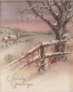 Vintage Greeting Card Christmas House Snowy Landscape Fence r488